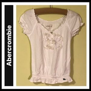 Abercrombie Gathered Waist Short Sleeve Top